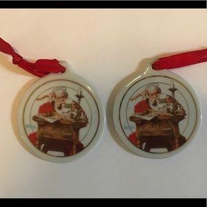 Norman Rockwell Santa Christmas Ornaments 1996
